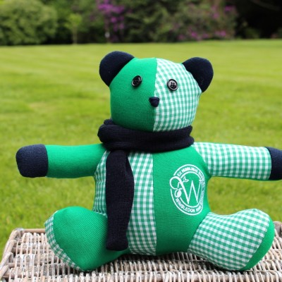 Each Small Blazer Bear Had A Blue Scarf Made From The School Jumper And A  Leavers 2016 Label Stitched Behind The Ear. We Thought The Bundle Of Green  Bears ...